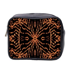 Golden Fire Pattern Polygon Space Mini Toiletries Bag 2 Side by Mariart
