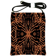 Golden Fire Pattern Polygon Space Shoulder Sling Bags by Mariart