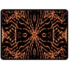 Golden Fire Pattern Polygon Space Fleece Blanket (large)  by Mariart