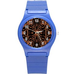 Golden Fire Pattern Polygon Space Round Plastic Sport Watch (s) by Mariart