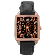 Golden Fire Pattern Polygon Space Rose Gold Leather Watch  by Mariart
