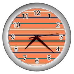 Horizontal Line Orange Wall Clocks (silver)  by Mariart