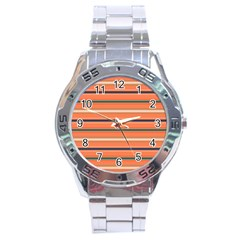 Horizontal Line Orange Stainless Steel Analogue Watch by Mariart