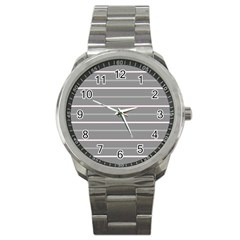 Horizontal Line Grey Pink Sport Metal Watch by Mariart
