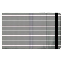 Horizontal Line Grey Pink Apple Ipad 3/4 Flip Case by Mariart