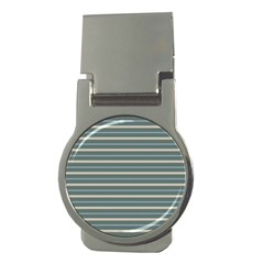 Horizontal Line Grey Blue Money Clips (round)  by Mariart