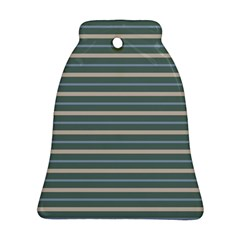 Horizontal Line Grey Blue Ornament (bell) by Mariart