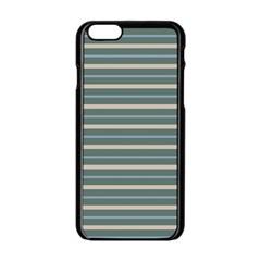 Horizontal Line Grey Blue Apple Iphone 6/6s Black Enamel Case by Mariart