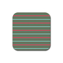 Horizontal Line Red Green Rubber Square Coaster (4 Pack)  by Mariart