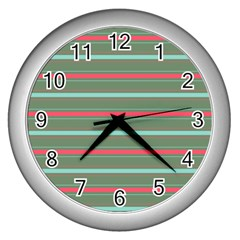 Horizontal Line Red Green Wall Clocks (silver)  by Mariart