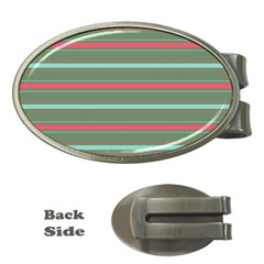 Horizontal Line Red Green Money Clips (oval)  by Mariart