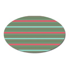 Horizontal Line Red Green Oval Magnet by Mariart