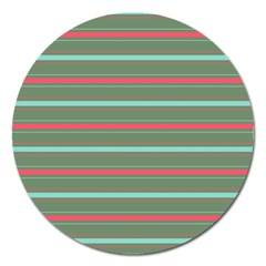 Horizontal Line Red Green Magnet 5  (round) by Mariart