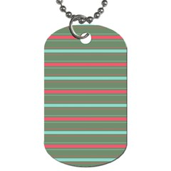 Horizontal Line Red Green Dog Tag (two Sides) by Mariart