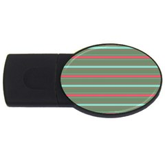 Horizontal Line Red Green Usb Flash Drive Oval (4 Gb) by Mariart