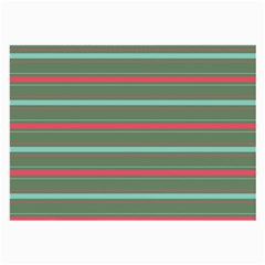 Horizontal Line Red Green Large Glasses Cloth (2 Side) by Mariart