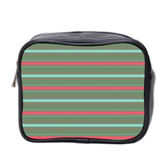 Horizontal Line Red Green Mini Toiletries Bag 2 Side by Mariart