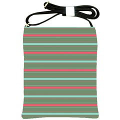 Horizontal Line Red Green Shoulder Sling Bags by Mariart