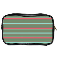 Horizontal Line Red Green Toiletries Bags by Mariart