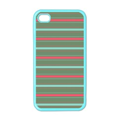 Horizontal Line Red Green Apple Iphone 4 Case (color) by Mariart