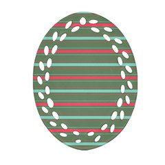 Horizontal Line Red Green Oval Filigree Ornament (two Sides) by Mariart