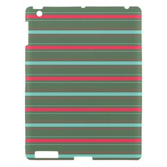 Horizontal Line Red Green Apple Ipad 3/4 Hardshell Case by Mariart
