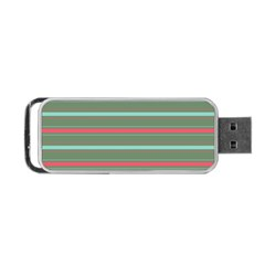 Horizontal Line Red Green Portable Usb Flash (two Sides) by Mariart