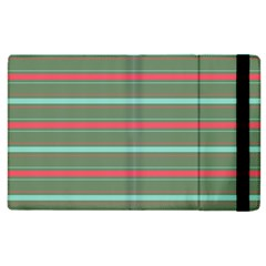 Horizontal Line Red Green Apple Ipad 3/4 Flip Case by Mariart