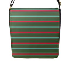Horizontal Line Red Green Flap Messenger Bag (l)  by Mariart
