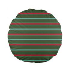 Horizontal Line Red Green Standard 15  Premium Flano Round Cushions by Mariart