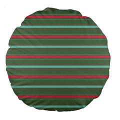 Horizontal Line Red Green Large 18  Premium Flano Round Cushions by Mariart