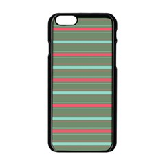 Horizontal Line Red Green Apple Iphone 6/6s Black Enamel Case by Mariart