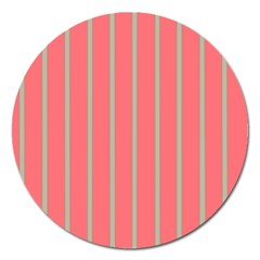 Line Red Grey Vertical Magnet 5  (round) by Mariart