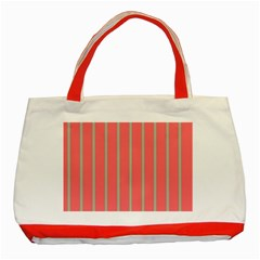 Line Red Grey Vertical Classic Tote Bag (red) by Mariart