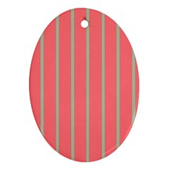 Line Red Grey Vertical Oval Ornament (two Sides) by Mariart