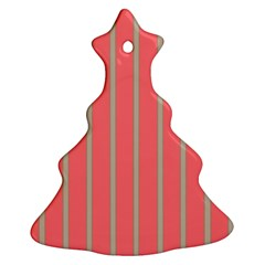 Line Red Grey Vertical Christmas Tree Ornament (two Sides) by Mariart