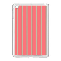 Line Red Grey Vertical Apple Ipad Mini Case (white) by Mariart