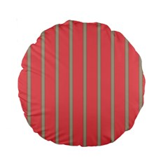 Line Red Grey Vertical Standard 15  Premium Round Cushions by Mariart