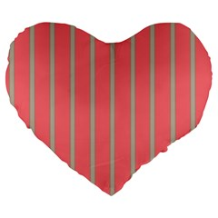 Line Red Grey Vertical Large 19  Premium Heart Shape Cushions by Mariart