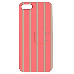 Line Red Grey Vertical Apple Iphone 5 Hardshell Case With Stand by Mariart