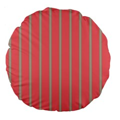 Line Red Grey Vertical Large 18  Premium Flano Round Cushions by Mariart