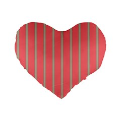 Line Red Grey Vertical Standard 16  Premium Flano Heart Shape Cushions by Mariart