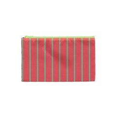 Line Red Grey Vertical Cosmetic Bag (xs) by Mariart