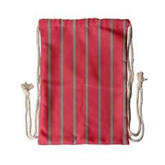 Line Red Grey Vertical Drawstring Bag (small) by Mariart