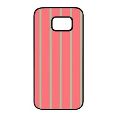 Line Red Grey Vertical Samsung Galaxy S7 Edge Black Seamless Case by Mariart