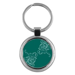 Leaf Green Blue Sexy Key Chains (round)  by Mariart