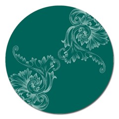 Leaf Green Blue Sexy Magnet 5  (round) by Mariart