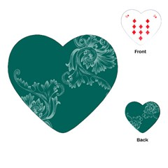 Leaf Green Blue Sexy Playing Cards (heart)  by Mariart