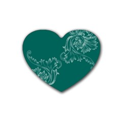 Leaf Green Blue Sexy Rubber Coaster (heart)  by Mariart