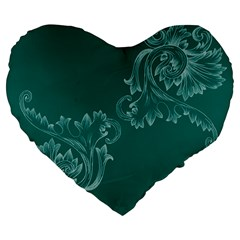 Leaf Green Blue Sexy Large 19  Premium Flano Heart Shape Cushions by Mariart